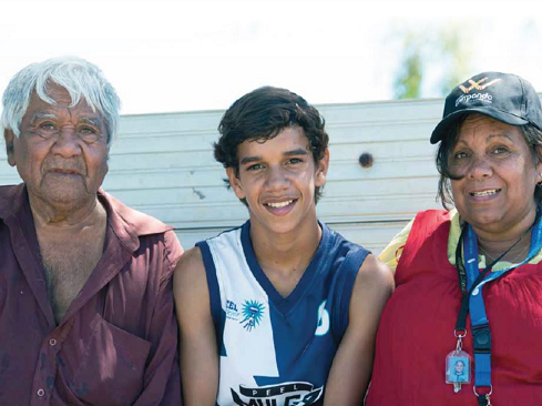 Young Aboriginal boy with grandparents